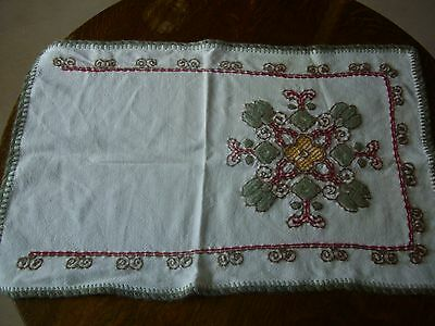 Vintage Hand Embroidered  Linen Table runner 70 x 45 cms
