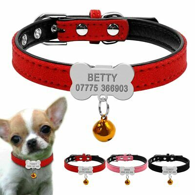 Personalized Dog Collars Custom Puppy Cat Bone ID Tags Engraved Bell Nameplate