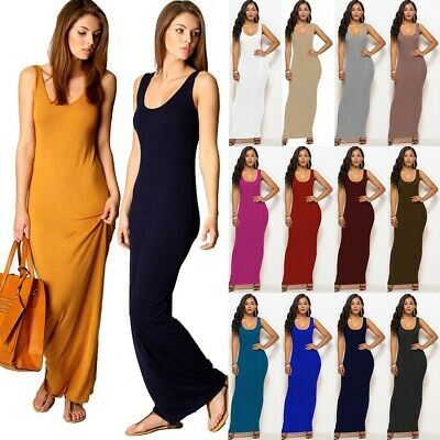 e6b21f5f79 Women Ladies Racer Muscle Back Jersey Long Summer Vest Maxi Dress Plus Size  6-16