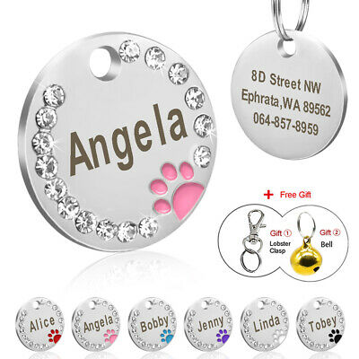 Dog Tags Personalized Pet ID Stainless Steel Puppy Collar Paw Printed Nameplate