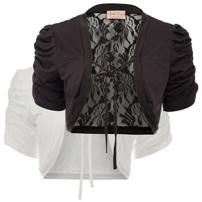 48bdeddd455468 Womens Pleated Short Sleeve SEE THROUGH Crop Cardigan/Bolero/Jacket/Shrug
