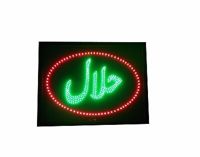 Flashing LED HALAL FOOD Shop Sign Neon Display Window Hanging Light Store Retail