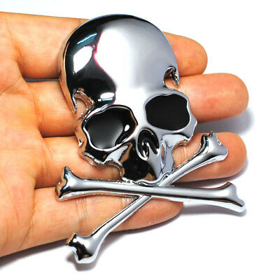 7.2x6CM 3D Metal Skull Crossbones Car Motorcycle Sticker Emblem Badge