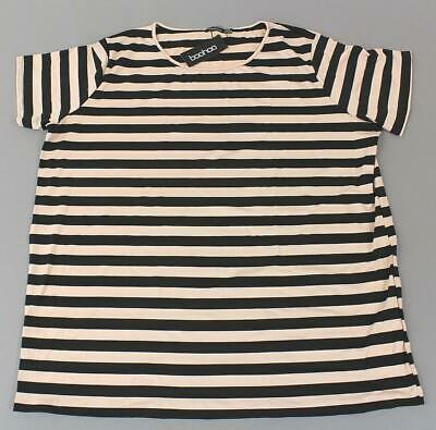 5717bf30f31 Boohoo Women s Plus Short Sleeve Striped T-Shirt Dress MC7 Nude Size US 24