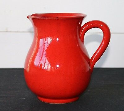 """Deep Red Speckled Glaze 6.5"""" Tall Pottery Pitcher MADE IN ITALY, FLAWLESS"""