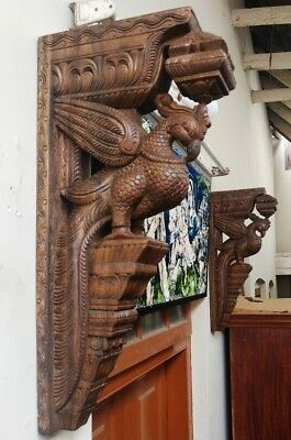 Wooden Bracket Temple Corbel Pair Architectural Wall hanging bracket Home Decor