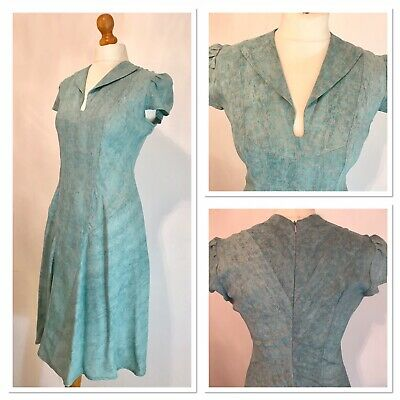 Vintage 1940s Inspired WWII Teal Green Blue Fit & Flare Tea Dress Size 10