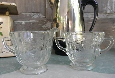 Madrid~Recollection Clear Footed Creamer Open Sugar Scroll Design Pressed Glass