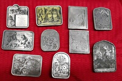 Lot 10 Vintage Bergamot brass 1974 belt buckles. Alice in wonderland themed.