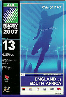 ENGLAND v SOUTH AFRICA RUGBY WORLD CUP 14 Sep 2007 POOL A MATCH no 13 PROGRAMME