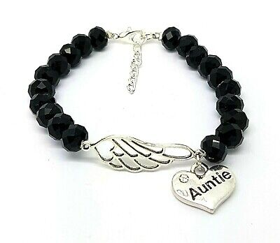 Personalised Black Faceted Angel Wing Family Charm Memorial Bracelet Gift