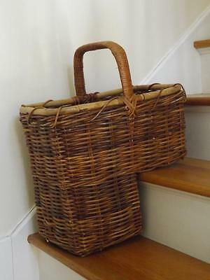 Vintage Handwoven Vine Wicker Bamboo Branches Twigs Stair Step Basket