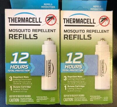 Thermacell Mosquito Repellent Refills 12 Hr 3 Repellent Mats 1 Cartridge 2 Pack!
