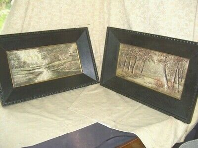 Antique PAIR of Silk landscape embroidery pictures,framed in thick black wood