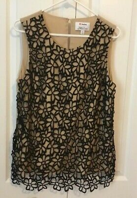 Neiman Marcus for Target Lela Rose Womens Sleeveless Lace Top Nude Black Sz L