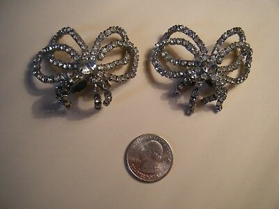 "1950s Vintage SHOE Clips 2.25 x 1"" marked "" MUSI "" white stones in silver FF"