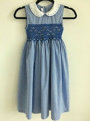 Girls Hand Embroiderd Floral Smocked Blue Gingham Dress Portrait Classic Sz 7