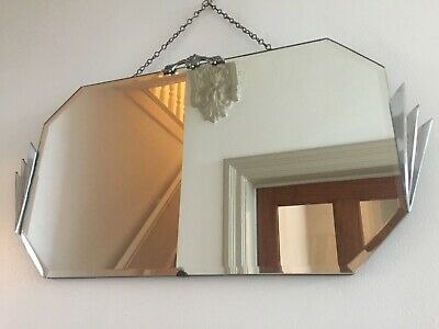 Art Deco Vintage Frameless Fan Detail Bevelled Mirror Original Chain 64cm m207