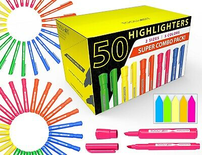 50 Chisel Tip Highlighters Markers Bulk Assorted Colors, Tank and Pen Type Combo