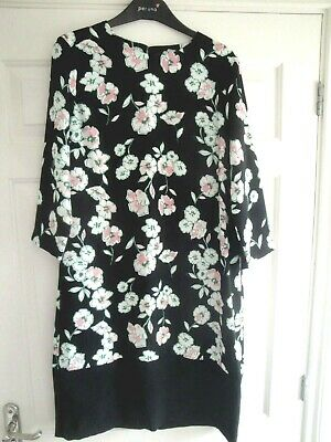 Dress M&S Bnwt Size 12 Black White Pink Green Floral Ladies Girls