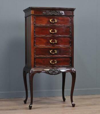 Attractive Tall Antique Roccoco Edwardian Mahogany Music Chest Of Drawers