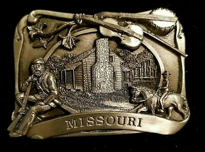 1984 Missouri Pewter Belt Buckle Siskiyou Oregon Cowboy Log Cabin Banjo Men