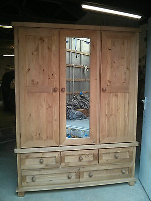 Pine Furniture Egyptian Triple 5 Drawer Wardrobe Olde Antique No Flat Packs