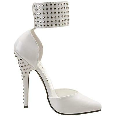 US13 43 44 pleaser 15cm Sexy white patent studs domina pumps straps high heels