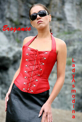 Sexy Leather Corset RED Size M Rot Echte Leder Korsett Cuir rouge  lace