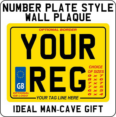 METAL PLAQUE / SIGN Number Plate Style Bike Motorcycle Registration SHOW Plates