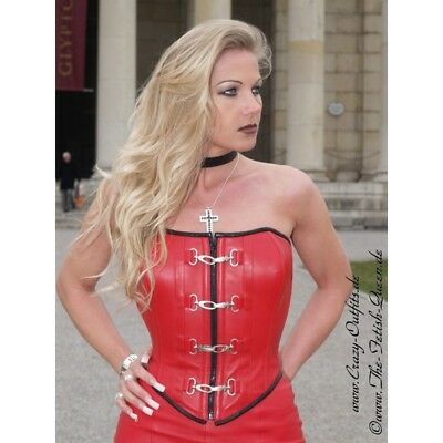 Sexy Leather Corset RED Size M Rot Echte Leder Korsett Cuir rouge Buckles