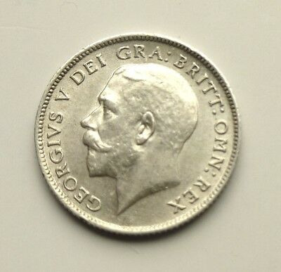 1911  George V  Silver  Sixpence  Coin