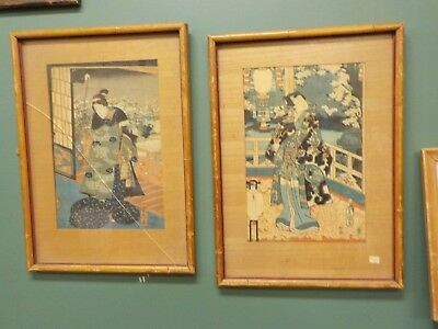 Antique Fine Japanese Woodblock Prints by Utagawa Toyokuni III (kunisada)