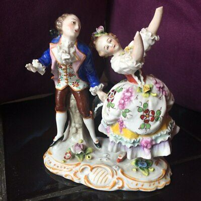 Antique Sitzendorf Porcelain Figurine couple at the ball