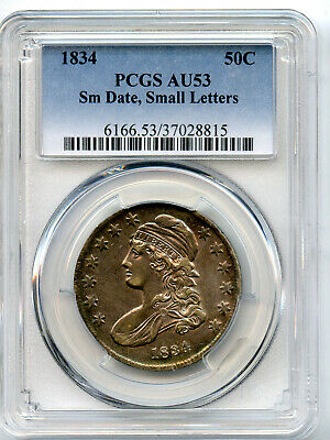 1834 Capped Bust Half Small Date,Small Letter PCGS AU 53