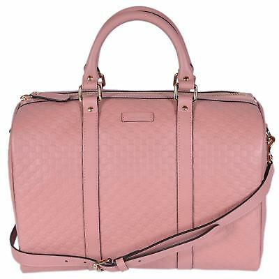 d73447fa7c3 New Gucci Pink Leather 449646 Micro GG Guccissima Boston Bag Satchel W Strap