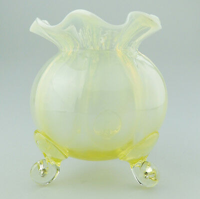 Antique Art Glass a very good Victorian Stourbridge Vaseline Vase Circa 19thC