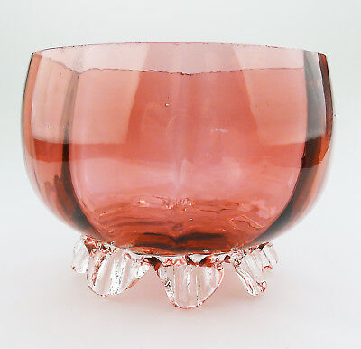 Antique English Cranberry coloured Glass a Victorian Bowl No.4 - C.19thC