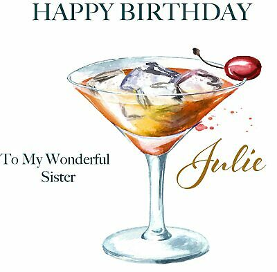 Female Birthday Card Funny Drink Cocktail Personalised Add A Name Or Age 3 20 Picclick Uk