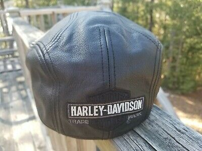 cf50945f1 HARLEY DAVIDSON NEWSBOY Cabbie Driver's Cap Hat Leather Motorcycle ...