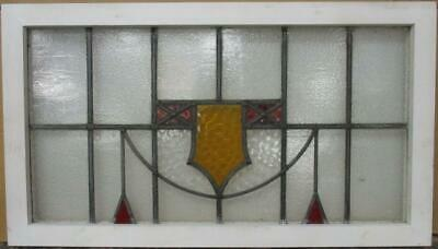 "OLD ENGLISH LEADED STAINED GLASS WINDOW TRANSOM Geometric Shield 34.5"" x 19.5"""
