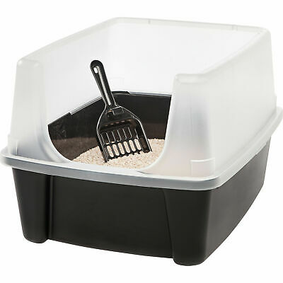 Clean Pet Cat Kitty Open Top Regular Litter Box with Shield and Scoop Black