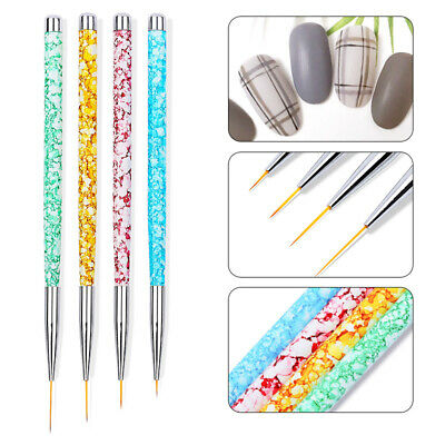 4Pcs Set Nail Art UV Gel Liner Painting Brush Drawing Art Pens Manicure DIY Tool