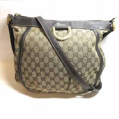 f68e447650eacc GUCCI 204940 GGpattern Canvas Leather Bag Shoulder Free Shipping [Used]