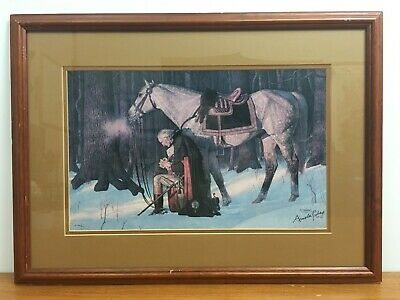 Prayer at Valley Forge George Washington Arnold Friberg Framed Signed Print
