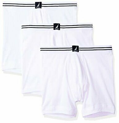 Nautica Mens Classic Cotton Boxer Brief Multi Pack, White New LG