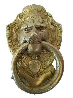 ANTIQUE Style Brass DOOR KNOCKER - LION Style - Fully Brass - RARE (5244)