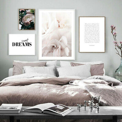 Scandinavian Poster Quotes Nordic Flower Rose Minimalist Wall Art Canvas Print
