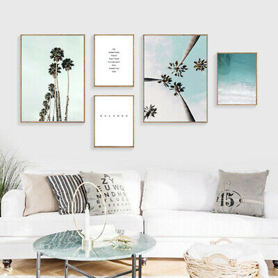 Coastal Beach Palm Tree Poster Seascape Nordic Decoration Wall Art Canvas Print