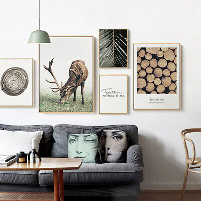 Scandinavian Poster Nordic Deer Wood Leaf Wall Art Canvas Print Modern Hom Decor